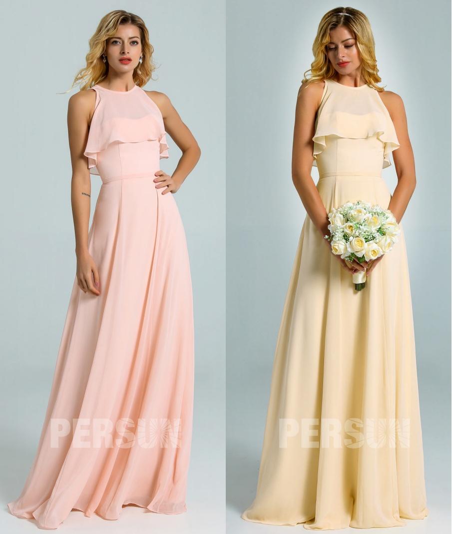 robe demoiselle d'honneur longue mousseline à haut volants rose perle & jaune clair