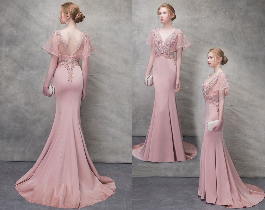 robe soirée sirène vieux rose col v plongeant avec manches à dos nu