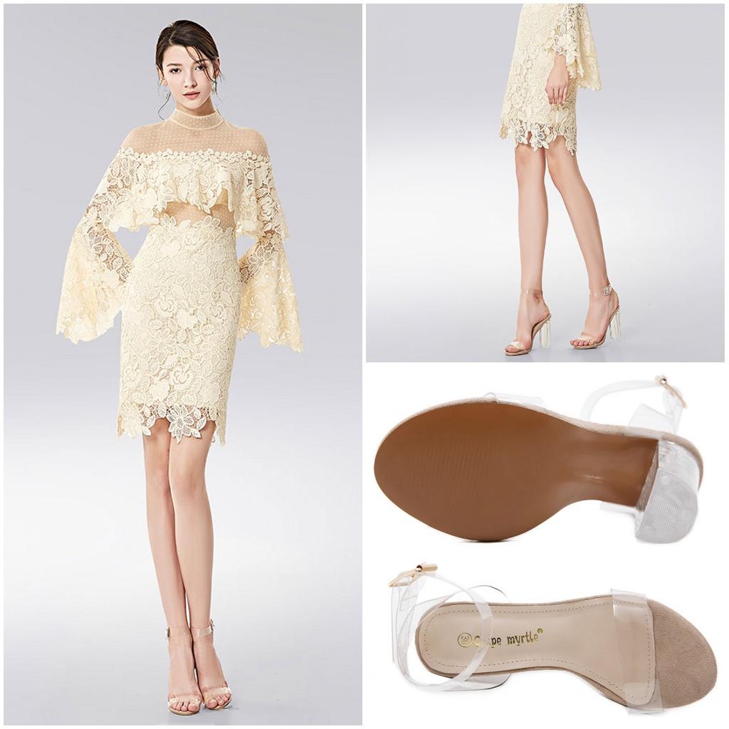 robe cocktail courte écru bohème dentelle & sandales transparentes talon haut