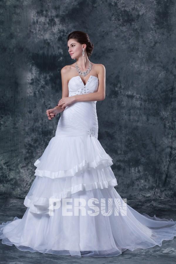 Robe bustier sexy col en coeur bijoux pour mariage